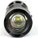 Image of a zoomed flashlight lens facing forward.