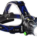 AN image of a headlamp with beam on, in color black and blue head band.