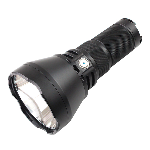 Image of black high-lumen flashlight laid diagonally with a silver-colored power button.