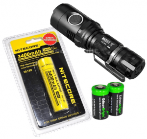 A photo of a flashlight set with batteries
