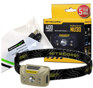 Nitecore NU30 460 Lumen USB rechargeable compact CREE LED headlamp/worklight and EdisonBright brand USB charging cable bundle (Desert Tan)