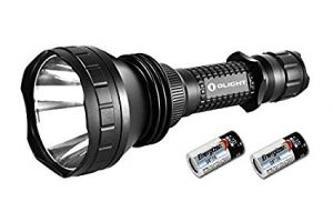 Image of a wide flashlight, black color, with two chargeable batteries beside it.