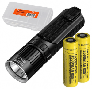Nitecore SRT9 2150 Lumen Multi-LED Smartring Tactical Flashlight (White, Red, Blue, Green, UV) Plus 2X 3500mAh High-Drain Rechargeable Batteries & LumenTac Battery Organizer