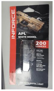 InForce APL Pistol Mounted Light, Black Body, Constant/Momentary White Light, Black, INF-APL-B-W
