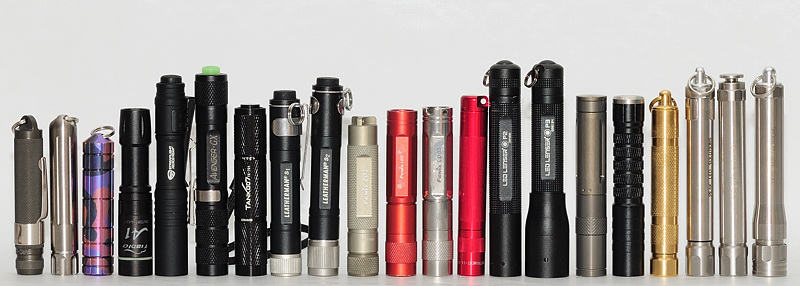 Image of various flashlight lined up together.