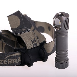 Image of a flashlight with headlamp holder in gray color.