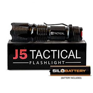 Image of a J5 Tactical flashlight on top of a box.