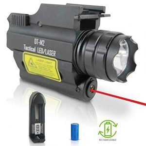 Image of a DefendTek Laser Sight with red laser beam and a battery with charger below it.