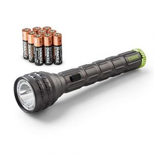 An image of Core Equipment flashlight in gray and green color, with nine Duracell AA batteries beside it.