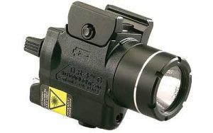 This is an image of a Streamlight Tac Light with Laser, black, with lens facing right.
