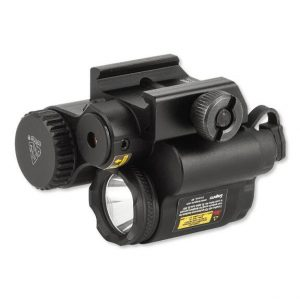 An image of a Streamlight Rail Mounted Flashlight with Laser Sight in black color.