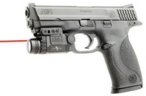 An image of a pistol with attached Viridian C5L Red Laser Sight.