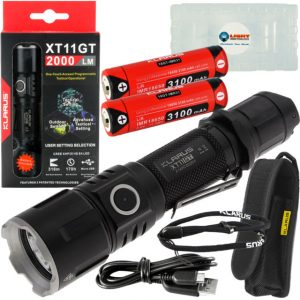 Image of a Klarus pocket flashlight with batteries and USB cables.