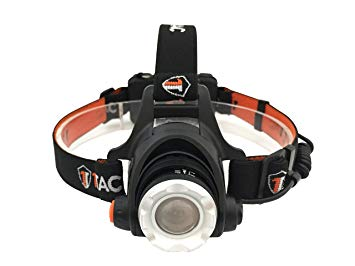 This is the HL1200 headlamp with orange-black colored headband, LED lens facing front.