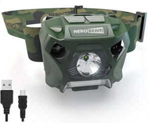 This is a photo of a green camouflage color headlamp and headband.