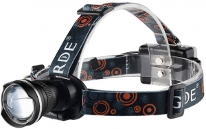 Image of a headlamp with wide LED lens, and in multi-colored headband.