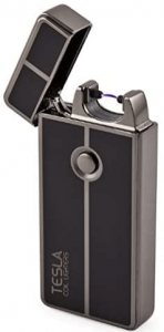 Photo of a plasma lighter, open cap, rectangle in shape and in gray-black color.
