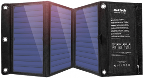 Image of a foldable solar panel, in black color.