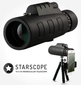 Starscope 10x50 Monocular Telescope Waterproof Fogproof BAK4 Prism with Built-in Compass for All Outdoor Activities