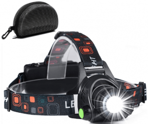 Image of a headlamp with multi-colored headlamp holder.