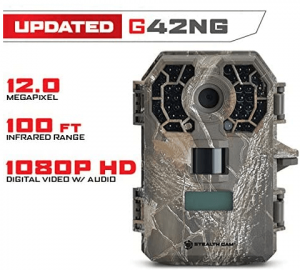 Close-up photo of a trail camera in rugged design, gray color.