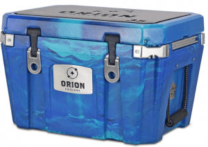 Image of a big blue cooler with metal buckle locks.