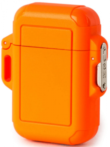 Photo of a cube-sized orange lighter on a white background.