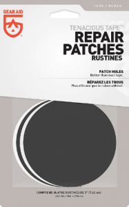 Image of a tetra pack with repair patches inside in circle shape.