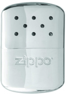A photo of a small rectangular-shaped metal hand warmer.