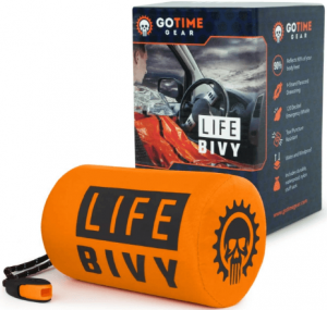 Go Time Gear Life Bivy Emergency Sleeping Bag Thermal Bivvy - Use as Emergency Bivy Sack, Survival Sleeping Bag, Mylar Emergency Blanket - Includes Stuff Sack with Survival Whistle + Paracord String