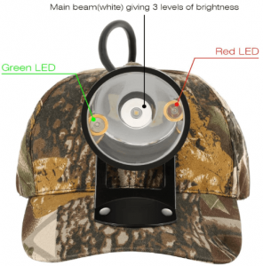 Image of a headlamp in color black, lens facing front.