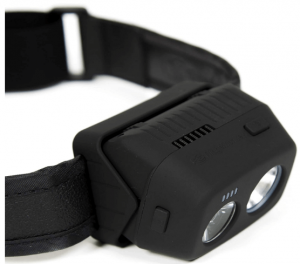 A close-up photo of a black headlamp with two LEDs.