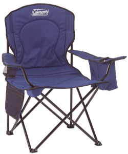 Photo of a blue foldable chair with armrests and side pockets
