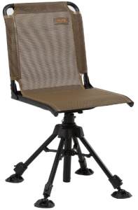 Image of a chair with tripod type base, no armrest, brown color.