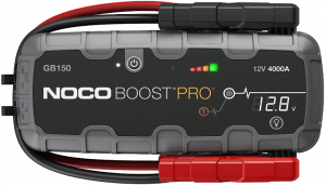 Image of a battery starter in rugged rectangular shape, with black and red terminal clips. Front label; has four different color on upper right side as battery indicator. This one is the 4000A variant.