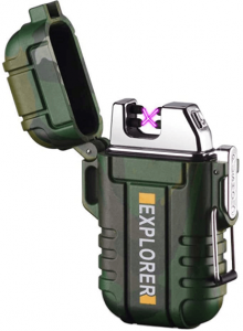 Image of a plasma green-colored lighter, cap open.