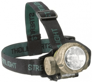 This is an image of a headlamp in gray color, head band color in black.
