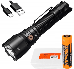 Fenix TK26R 1500 Lumen Long Throw White Red and Green Tricolored USB-C Rechargeable Professional Tactical Flashlight with Lumentac Battery Case
