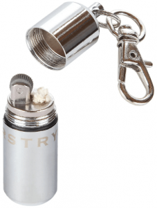 Image of a cylindrical-shaped silver color lighter, cap open with attached key ring toit.