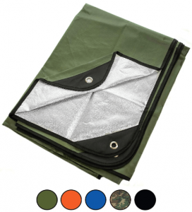 Image of a folded green survival blanket on a white baackground.