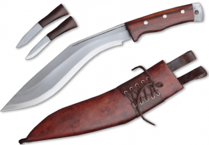 Image of the R&T Genuine Gurkha Kukri, with maple-colored sheath, two smaller kives in wooden handles included.
