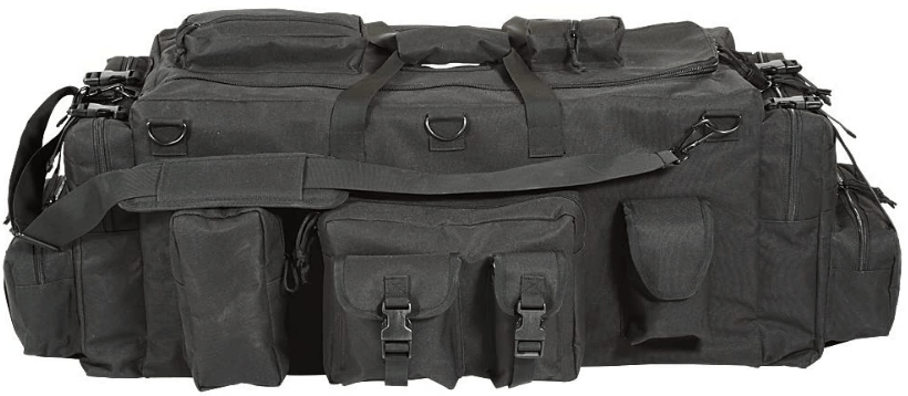 Image of a bag with multiple pockets on one side, shoulder strap seen, pockets have buckles as closure.