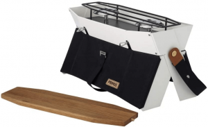 This is an image of a two burner portable stove with a wooden board beside it.
