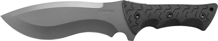 This is an image of the Schrade SCHF28 Little Ricky Knife with gray-colored blade and a black handle on a white background.