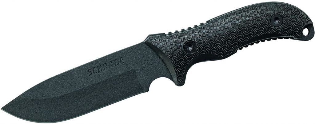 Image of a Schrade SCHF36 Frontier knife with black-colored blade and handle on a white contrast background.