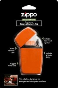 Image of an orange lighter inside a black tetra pack.