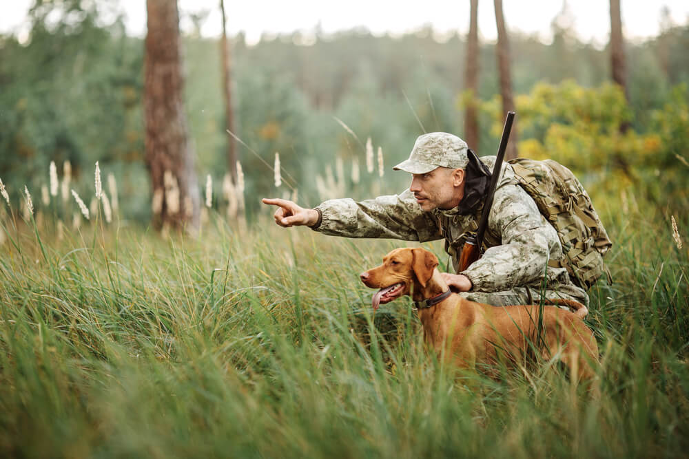 This is a photo of a man with his hunting dog hunting in the woods.