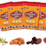 Image of four orange pouches containing ready to eat survival tabs.
