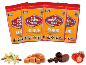 Image of four orange pouches containing ready to eat survival tabs/