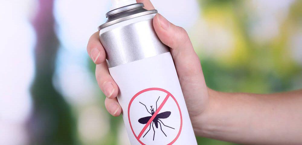 Hand holding mosquito spray